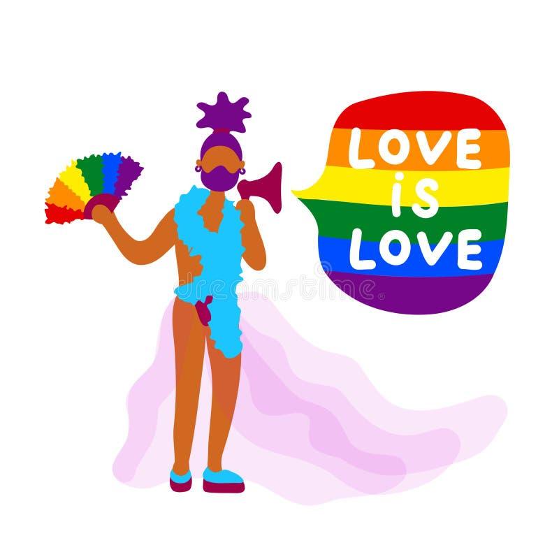 Activista africano del transexual con la fan del arco iris ilustración del vector