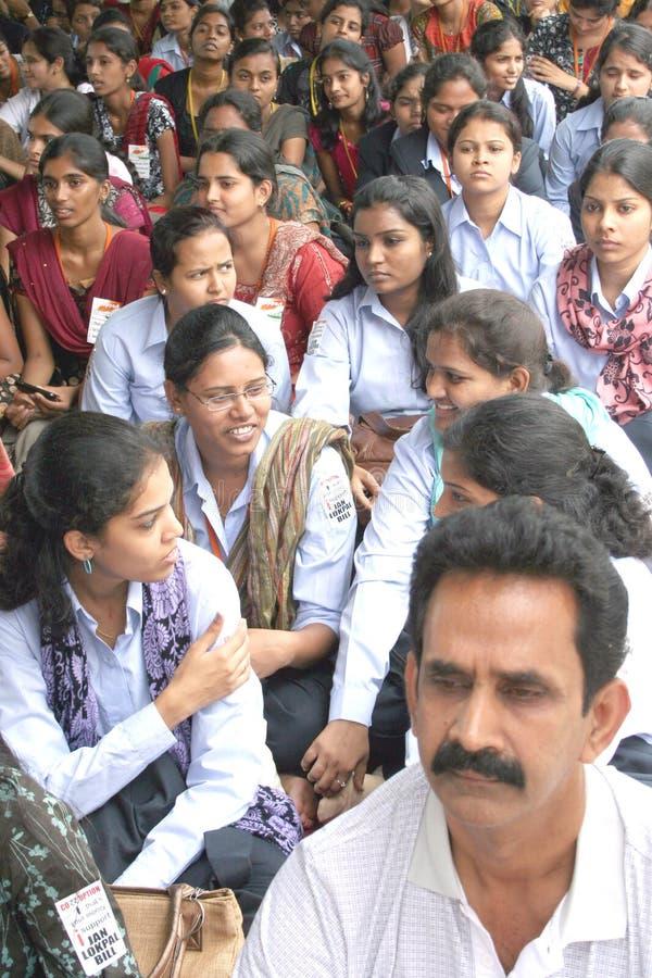 Activistas de India de encontro ao protesto da corrupção fotografia de stock