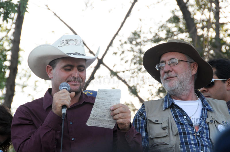Activistas Lebaron juliano e Javier Sicilia fotografia de stock royalty free