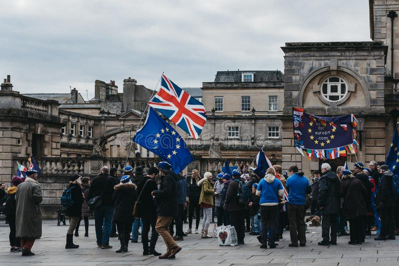 Activists from Bath for Europe campaigning in Bath, UK. Activists from Bath for Europe, non-party-political group of volunteers campaigning for the UK to remain royalty free stock photography