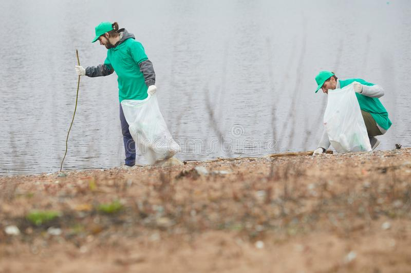 Activists cleaning shore from litter. Volunteers in green uniform cleaning coast and picking garbage to bags stock images