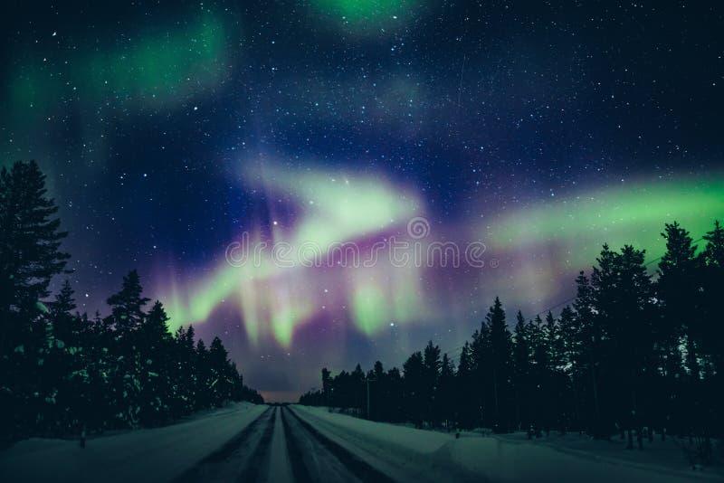 Activité arctique polaire colorée d'Aurora Borealis de lumières du nord en hiver Finlande image stock