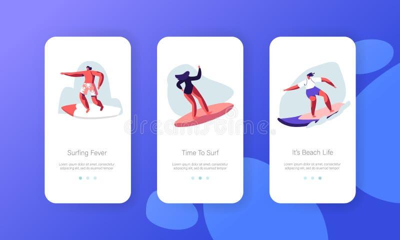Activité d'été, page mobile d'appli de mode de vie sain à bord d'ensemble d'écran Surfers dans l'usage de bain montant la grande  illustration libre de droits