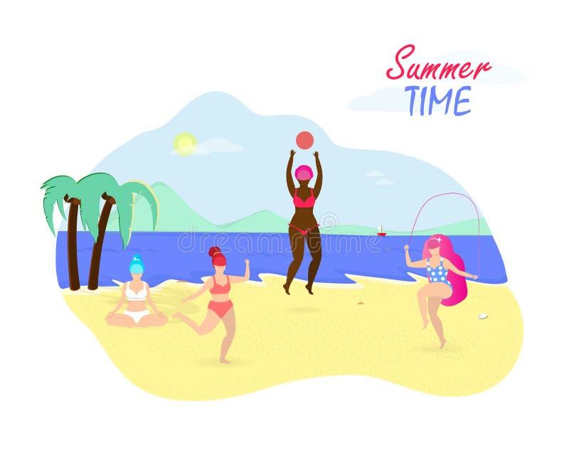 Activité d'heure d'été sur la plage Positif de corps graphisme illustration de vecteur