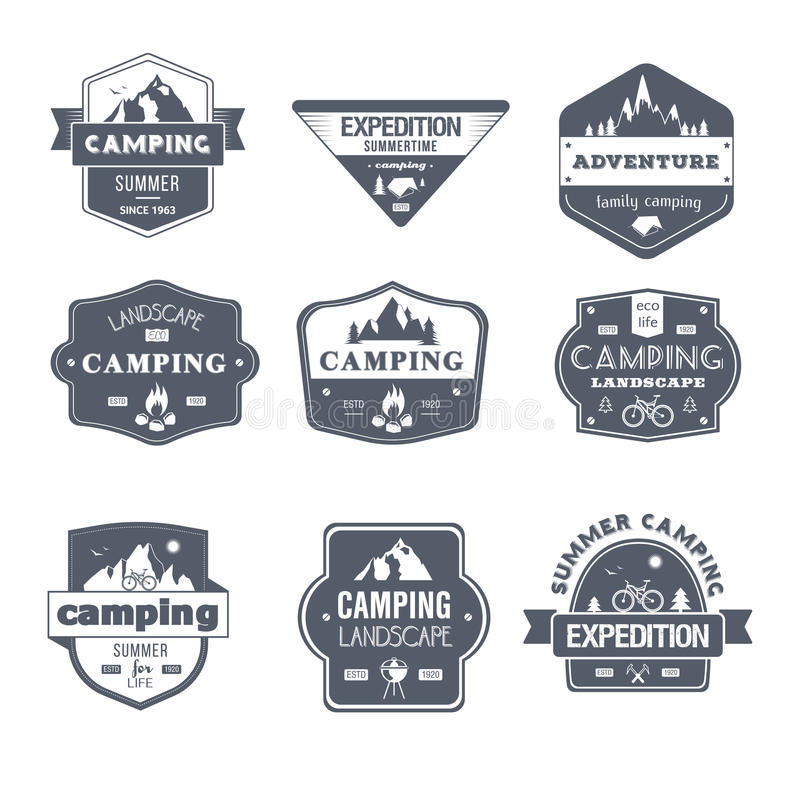 Activité de camping - ensemble de vecteur de vintage des logos illustration libre de droits