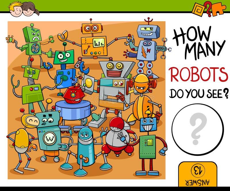 Activité de combien de robots illustration stock