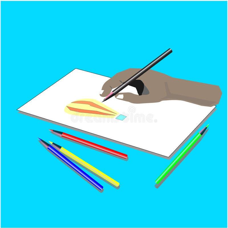 Activité de dessin de vecteur utilisant un crayon illustration stock