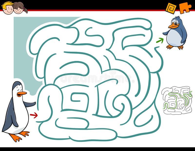 Activité de labyrinthe avec des pingouins illustration stock