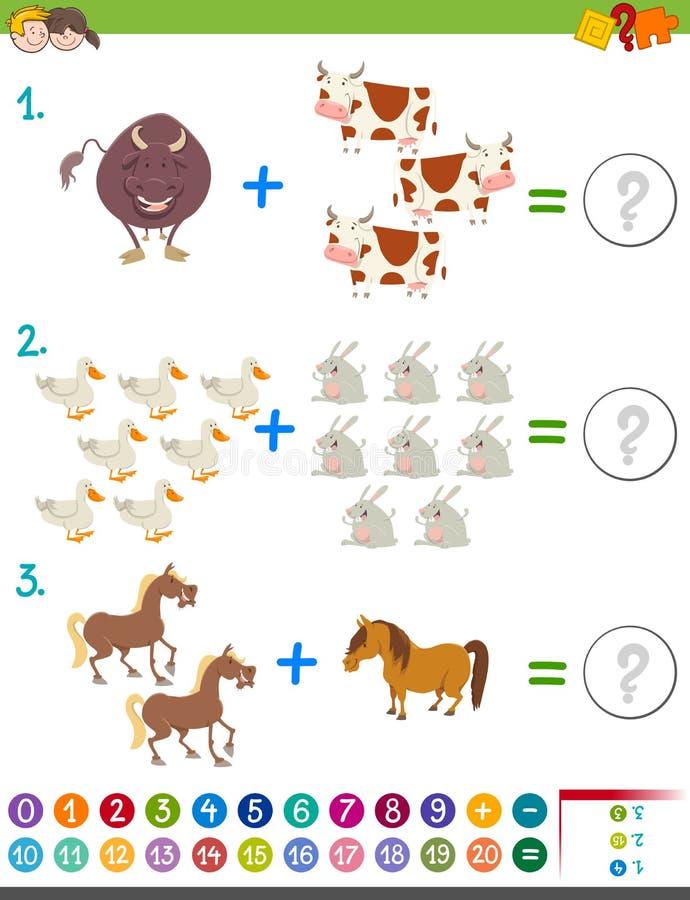Activité de maths d'addition avec des animaux illustration de vecteur