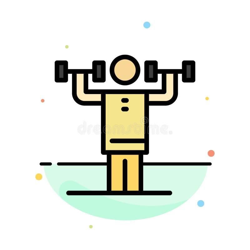 Activité, discipline, humain, physique, calibre plat d'icône de couleur d'abrégé sur force illustration de vecteur