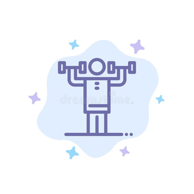 Activité, discipline, humain, physique, icône bleue de force sur le fond abstrait de nuage illustration stock