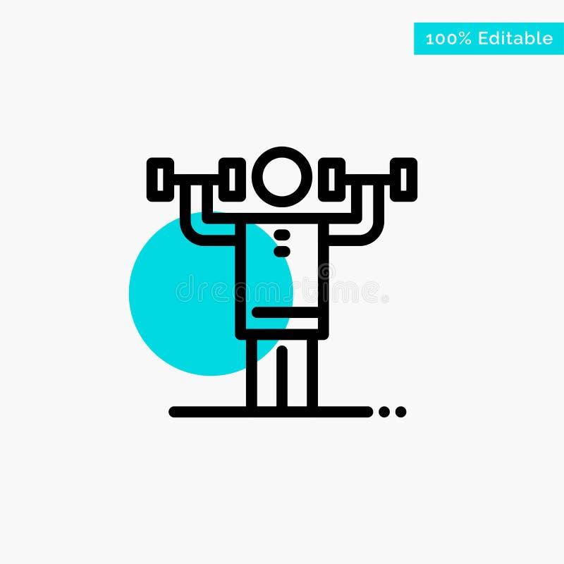 Activité, discipline, humain, physique, icône de vecteur de point de cercle de point culminant de turquoise de force illustration libre de droits