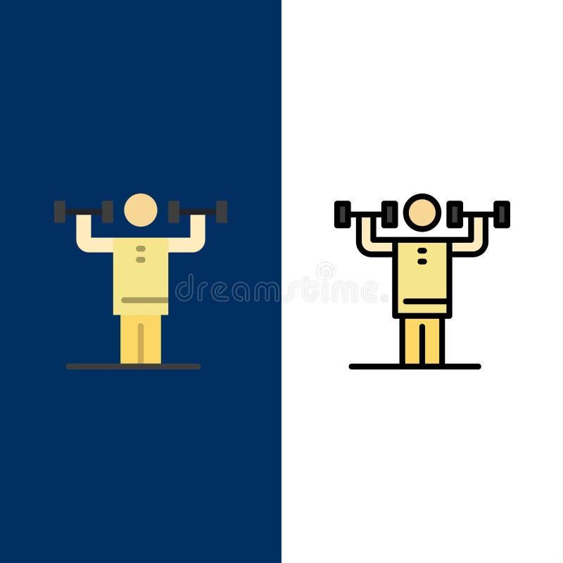 Activité, discipline, humain, physique, icônes de force L'appartement et la ligne icône remplie ont placé le fond bleu de vecteur illustration libre de droits