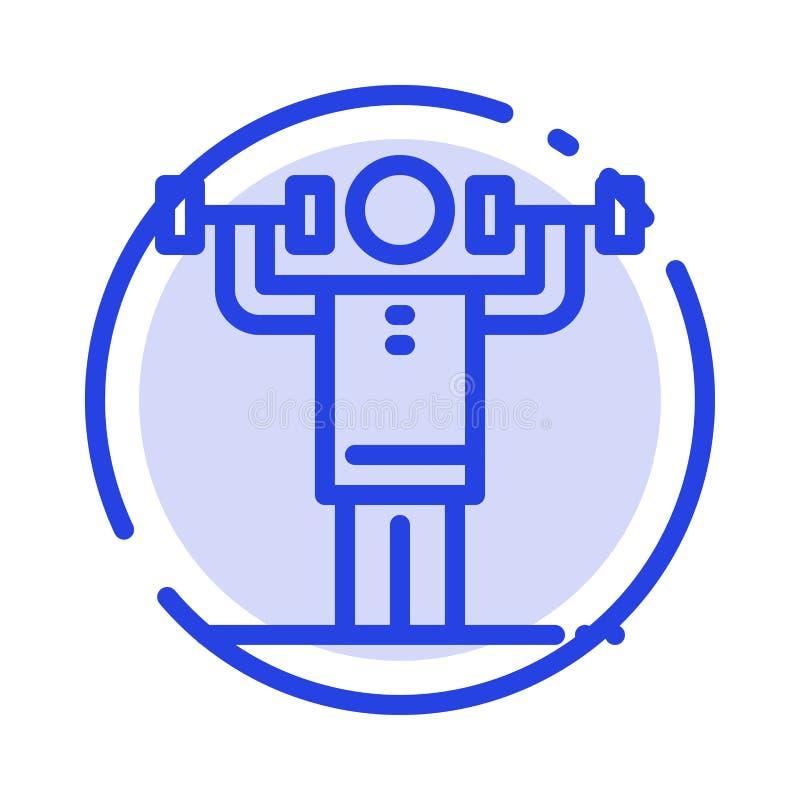 Activité, discipline, humain, physique, ligne pointillée bleue ligne icône de force illustration libre de droits