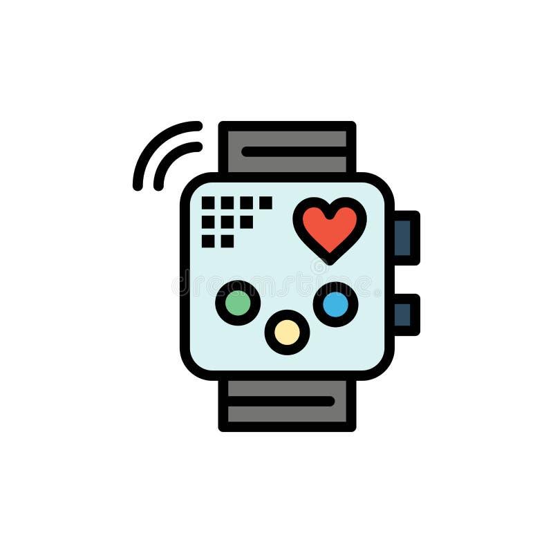 Activité, dispositif, forme physique, battement de coeur, icône plate de couleur de surveillance Calibre de bannière d'icône de v illustration de vecteur