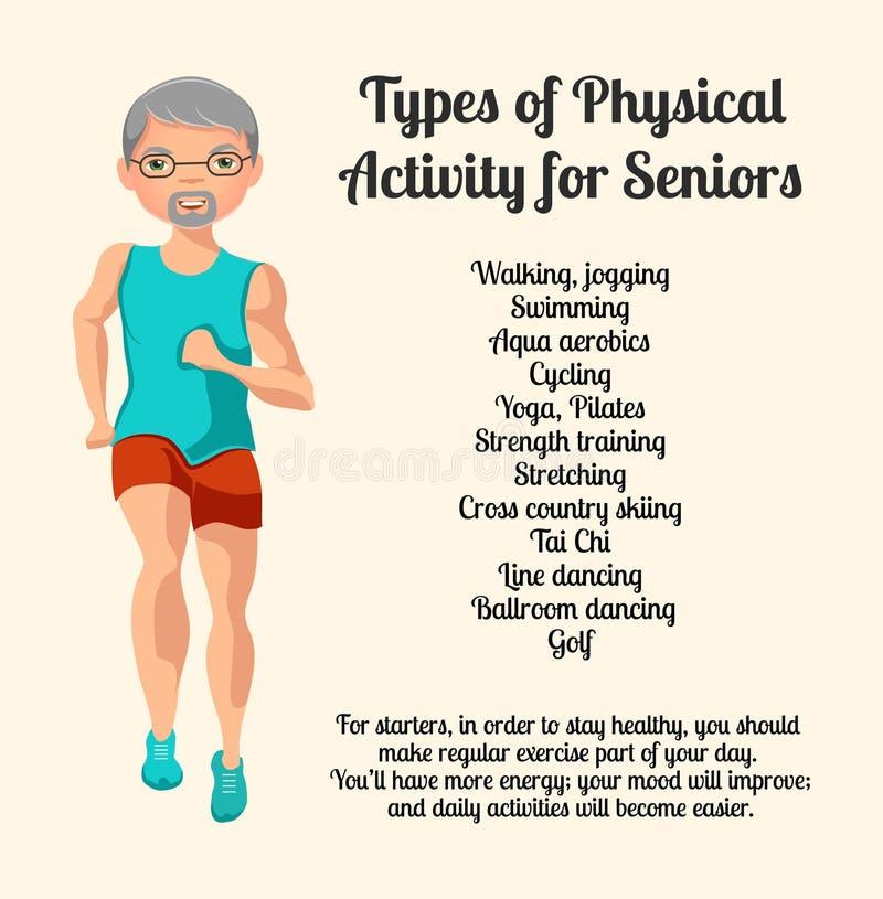 Activité physique pour des aînés Illustration de vecteur illustration libre de droits