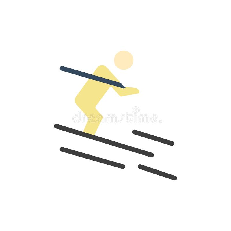 Activité, ski, ski, icône plate de couleur de sportif Calibre de bannière d'icône de vecteur illustration de vecteur