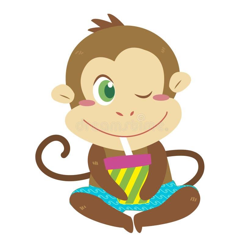 Activités de la plage d'un singe illustration libre de droits