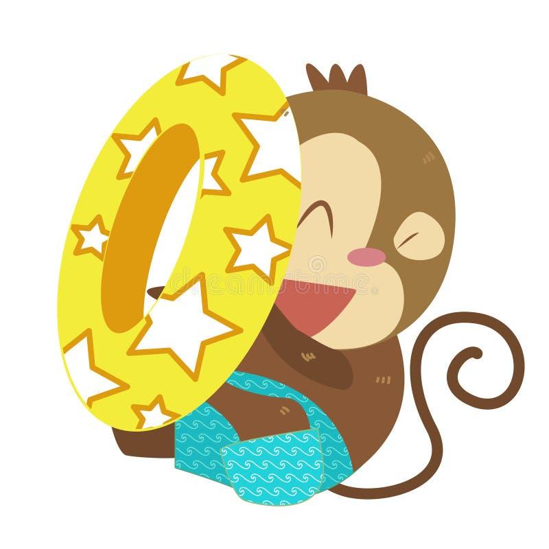 Activités de la plage d'un singe illustration stock