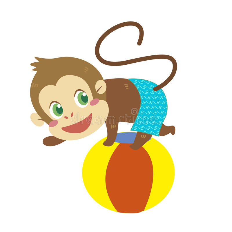 Activités de la plage d'un singe illustration de vecteur