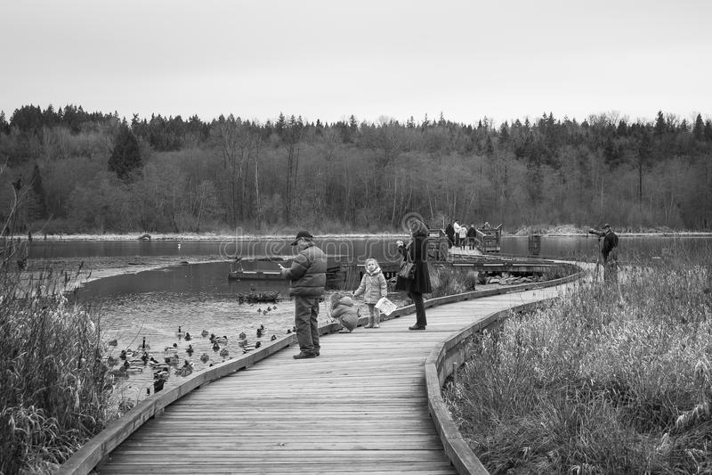 Activités de personnes au parc public B/W de lac Burnaby photos stock