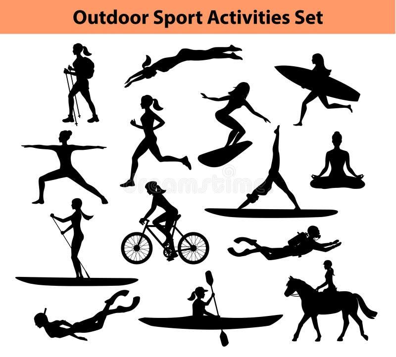 Activités extérieures de sport de formation Silhouette femelle illustration stock