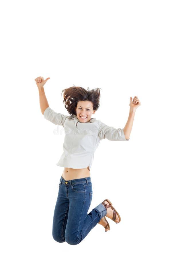 Activiteit en gelukconcept, glimlachende tiener in witte B stock afbeelding