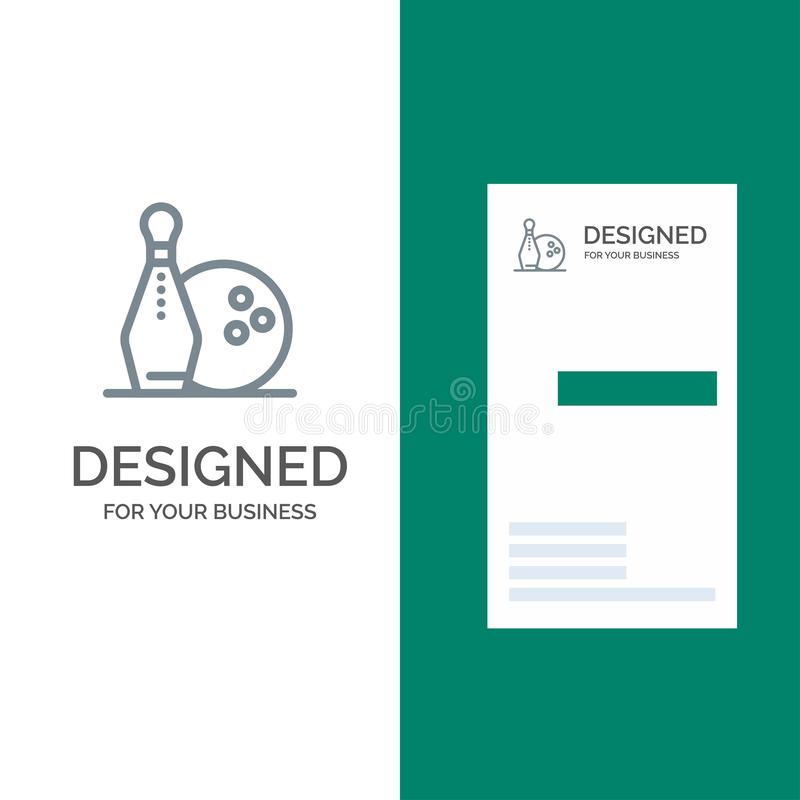 Activiteit, Kegelen, Kommen, Vaatjeleng Grey Logo Design en Visitekaartjemalplaatje vector illustratie