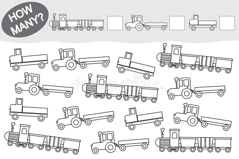 Activiteit voor kinderen Onderwijs spel Tel hoeveel het vervoer en hen kleurt vector illustratie