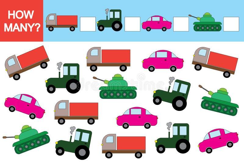 Activiteit voor kinderen Onderwijsspel, Hoeveel transporten? vector illustratie