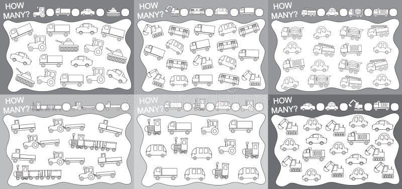 activiteiten voor kinderen Reeks onderwijsspelen voor jonge geitjes 6 in 1: Hoeveel objecten het vervoer telde? Kleurend boek Vec stock illustratie