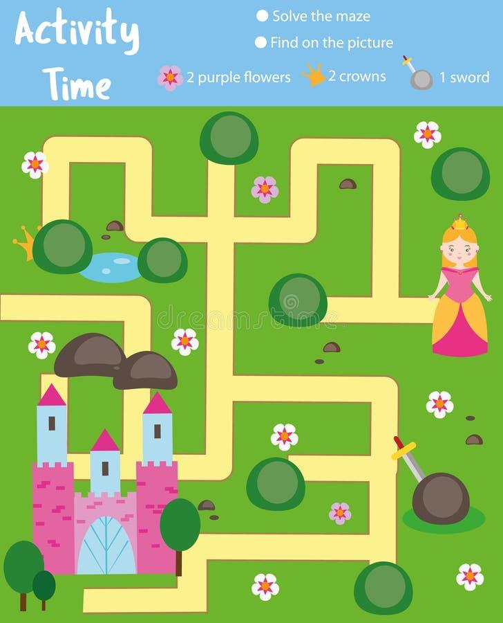Activiteitenpagina voor jonge geitjes Onderwijs spel Het labyrint en vindt de voorwerpen als thema hebben Sprookjesthema De hulpp royalty-vrije illustratie