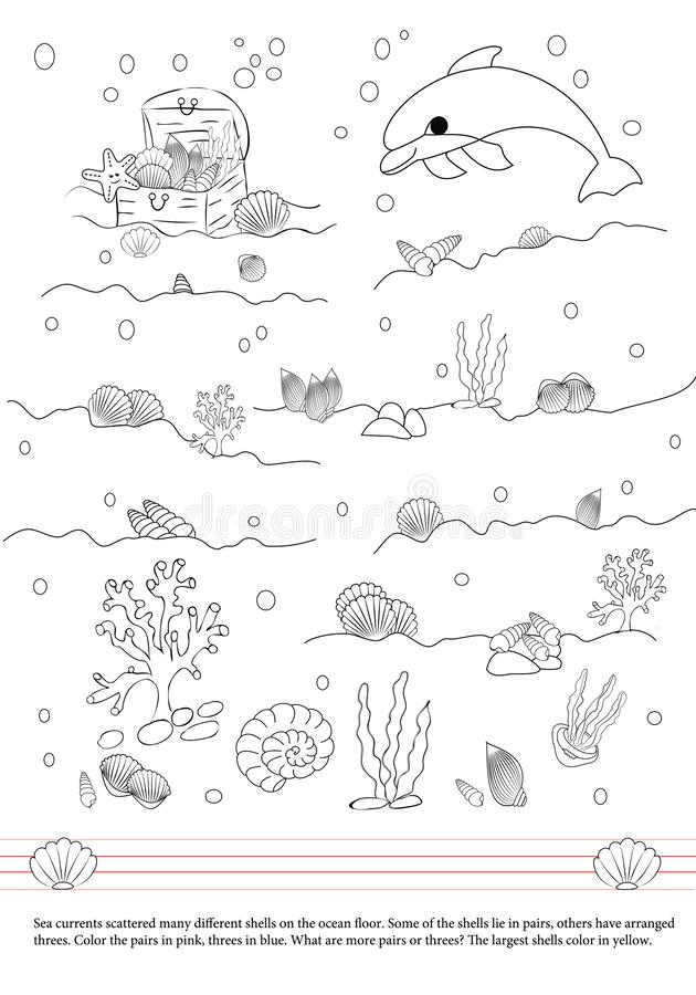 Activities book for children. Dolphin. Shells. Pairs and trees royalty free illustration