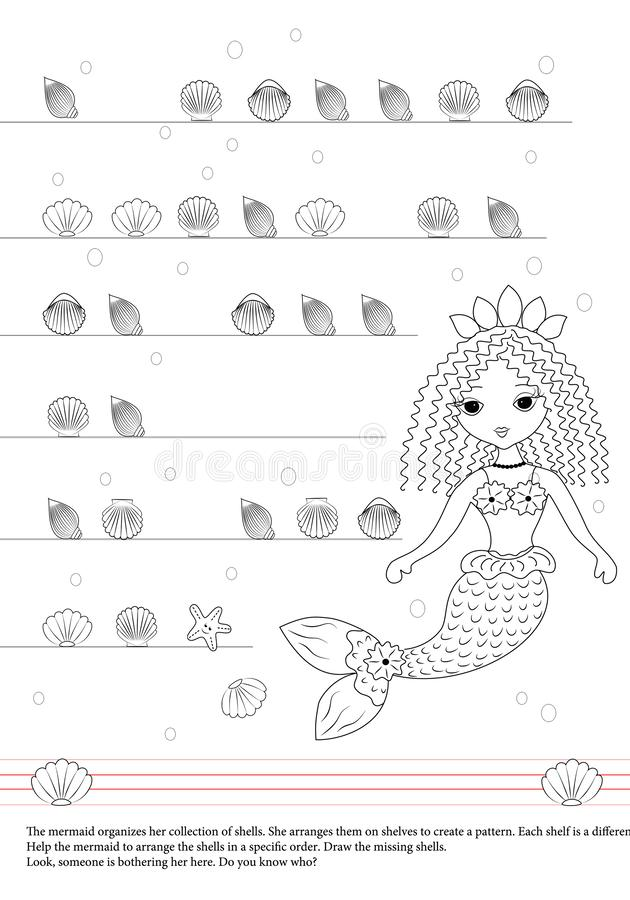 Activities book for children. Mermaid. Shells. Draw. Patterns. stock illustration