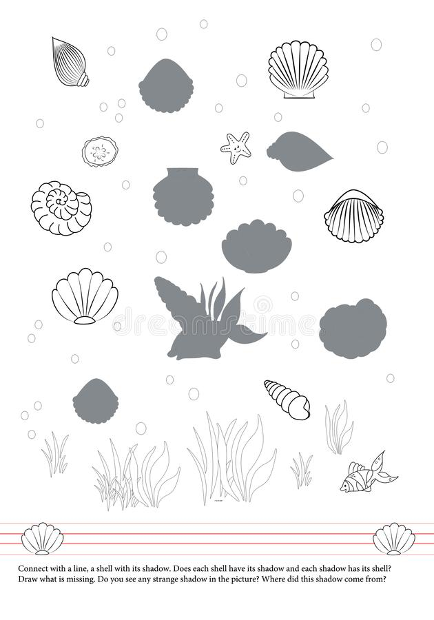 Activities book for children. Shells. Fish. Shadows. Drawing vector illustration