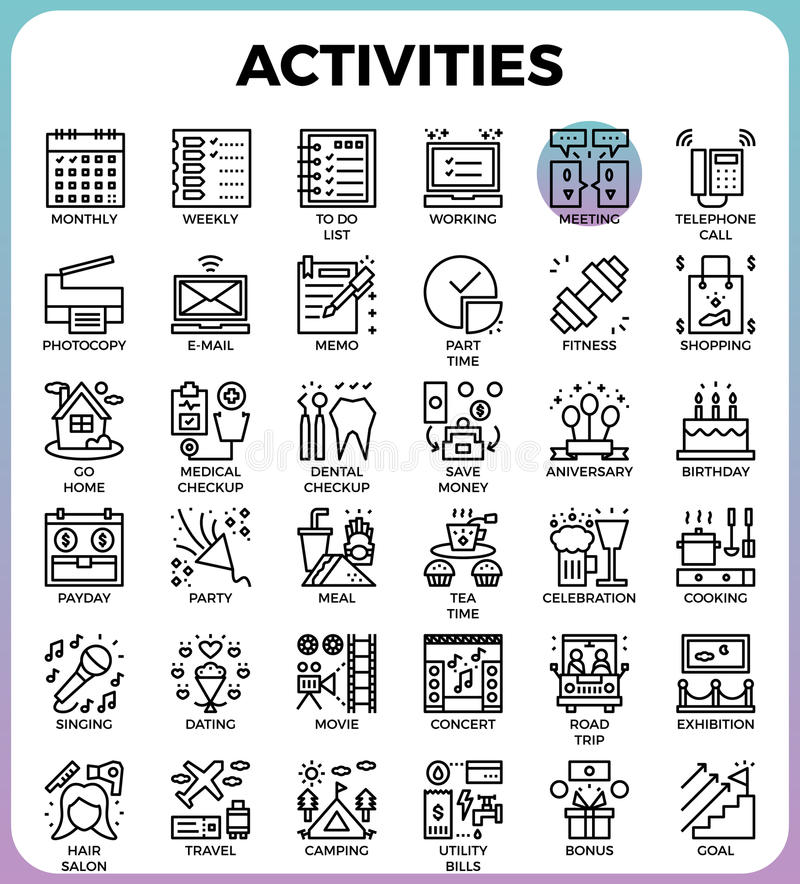 Daily Activities concept detailed line icons stock illustration