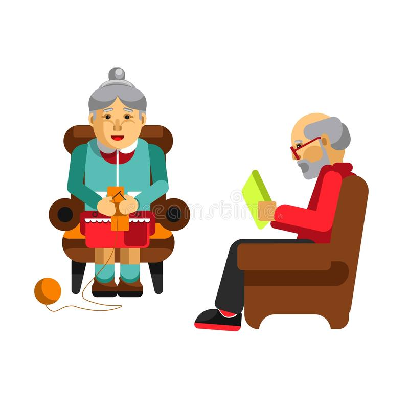Daily activities of grandparents. Grandmother knitting and grandfather reading newspaper. Daily activities of grandparents. Grandmother knitting in armchair vector illustration