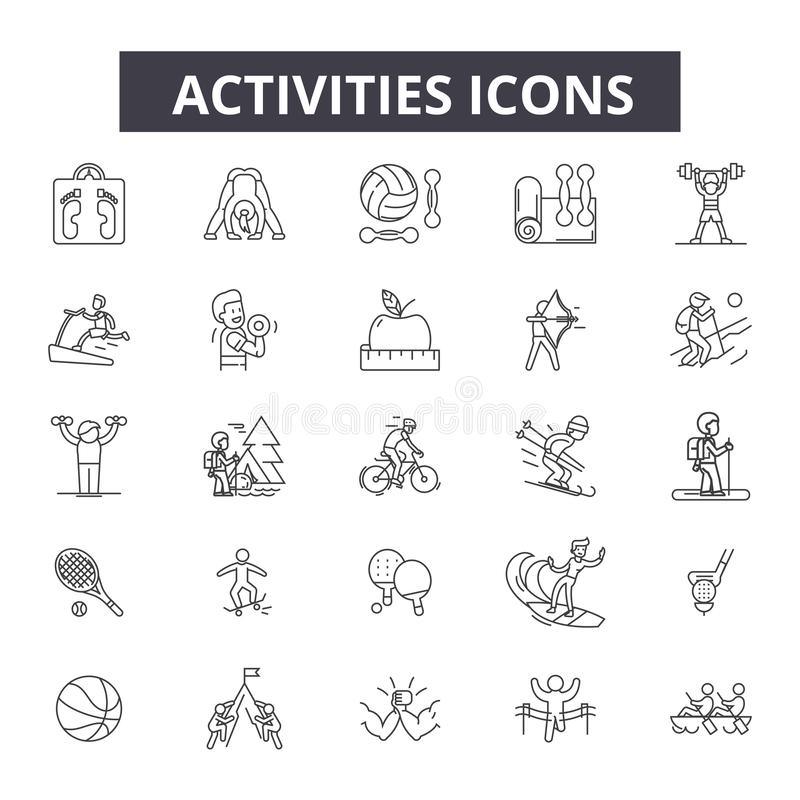 Activities line icons. Editable stroke signs. Concept icons: active people, woman lifestyle, man leisure, happy summer. Activities line icons. Editable stroke royalty free illustration