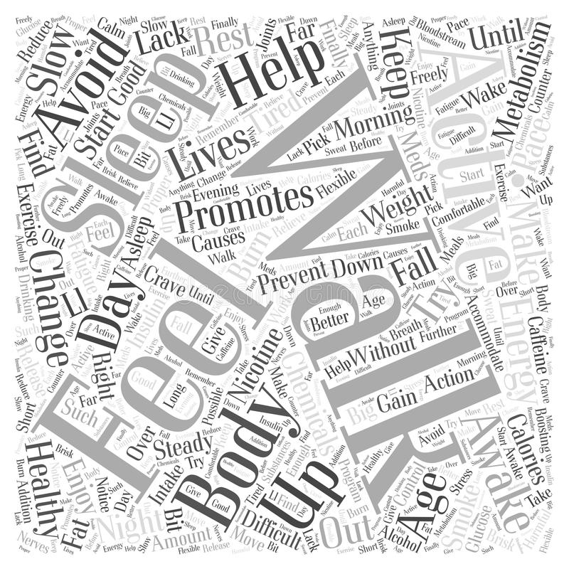Activities Promoting Healthy Aging word cloud concept royalty free illustration