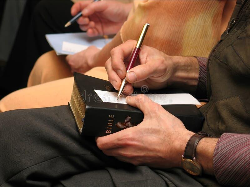 Activity at a Bible study stock photo
