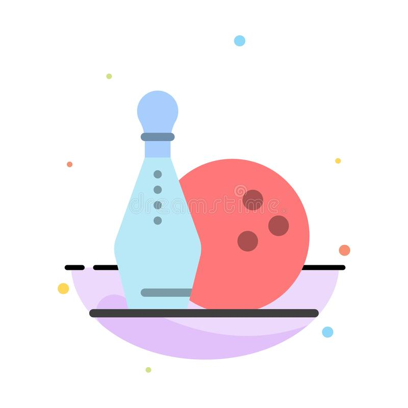 Activity, Bowling, Bowls, Keg ling Abstract Flat Color Icon Template stock illustration