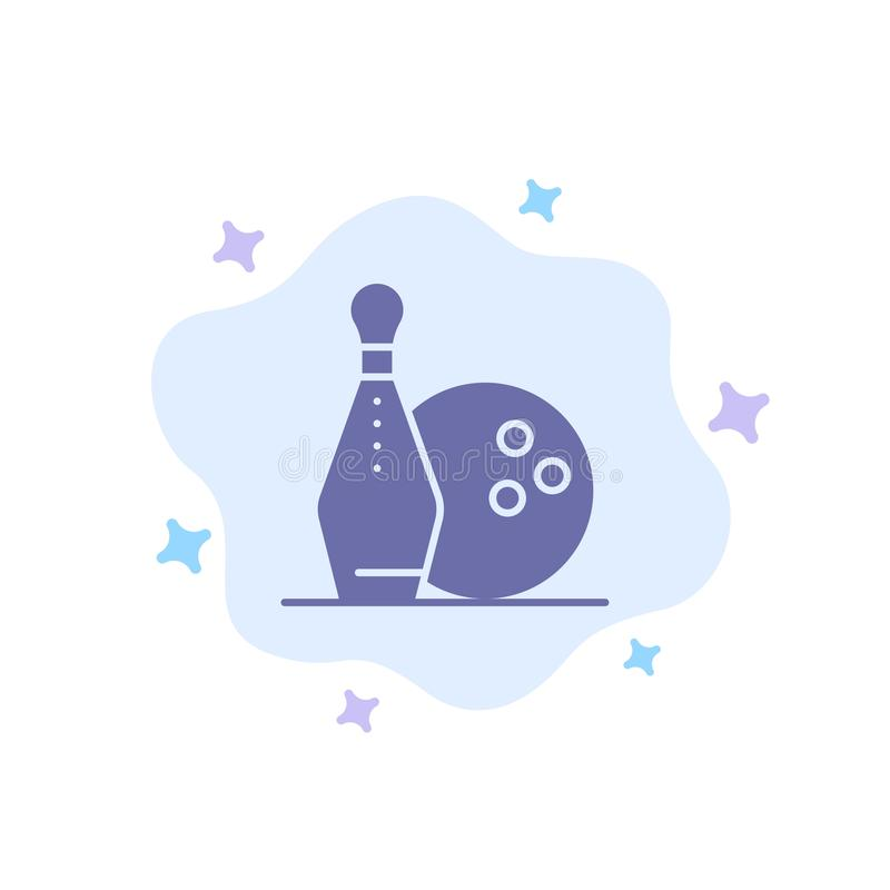 Activity, Bowling, Bowls, Keg ling Blue Icon on Abstract Cloud Background vector illustration