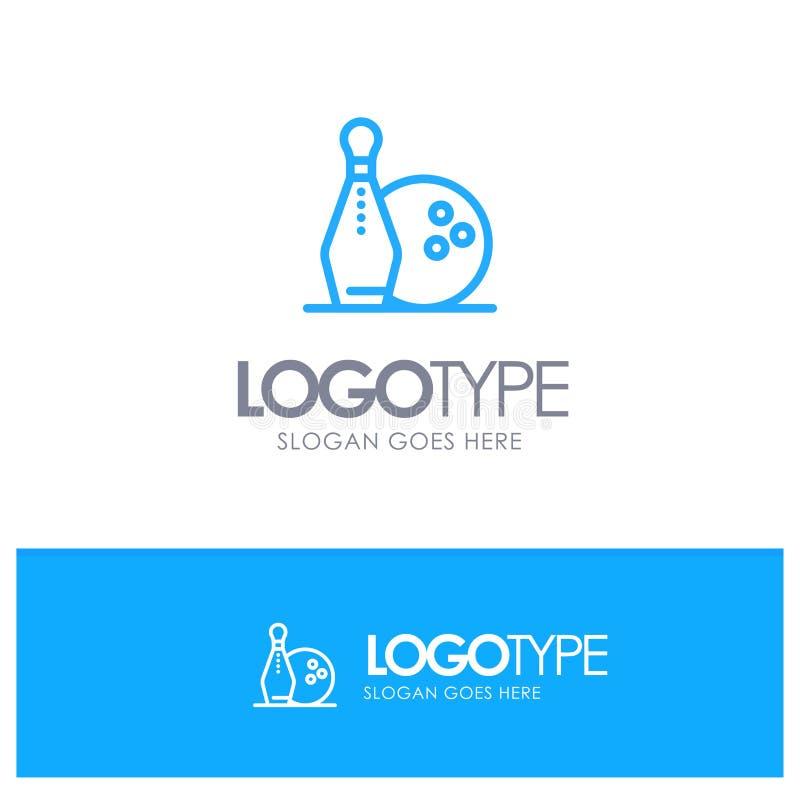 Activity, Bowling, Bowls, Keg ling Blue outLine Logo with place for tagline vector illustration