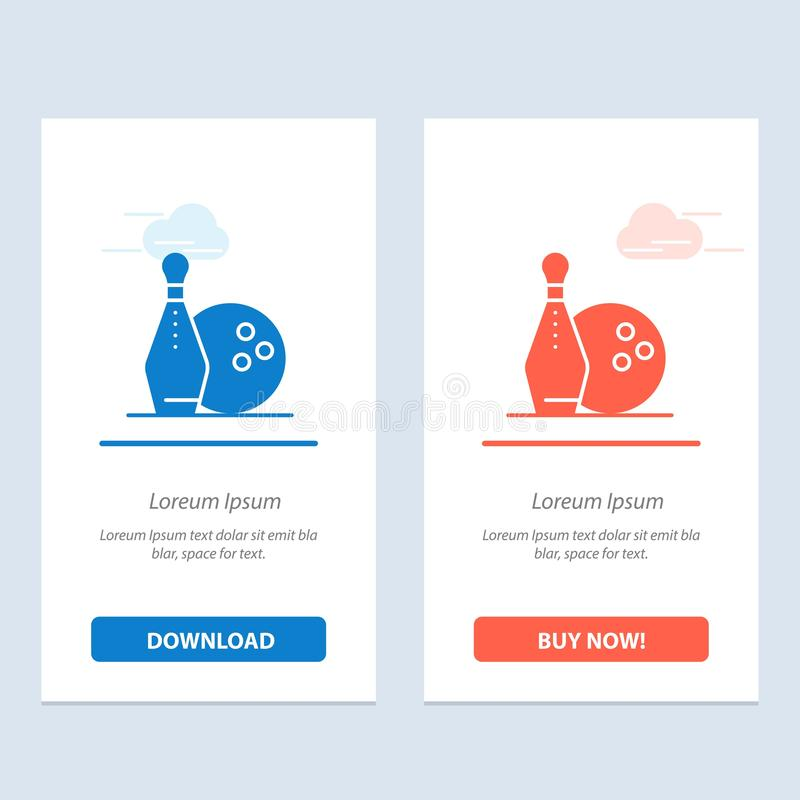 Activity, Bowling, Bowls, Keg ling  Blue and Red Download and Buy Now web Widget Card Template royalty free illustration