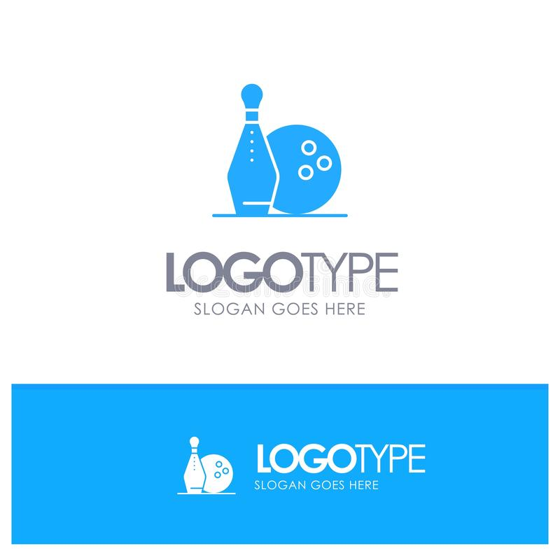 Activity, Bowling, Bowls, Keg ling Blue Solid Logo with place for tagline vector illustration