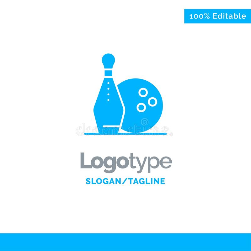 Activity, Bowling, Bowls, Keg ling Blue Solid Logo Template. Place for Tagline stock illustration