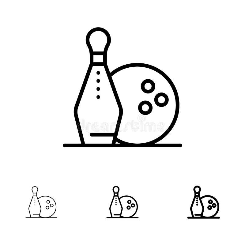 Activity, Bowling, Bowls, Keg ling Bold and thin black line icon set stock illustration