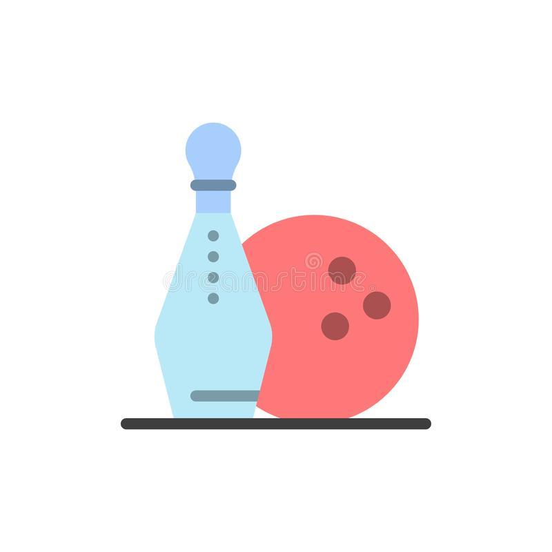Activity, Bowling, Bowls, Keg ling  Flat Color Icon. Vector icon banner Template vector illustration