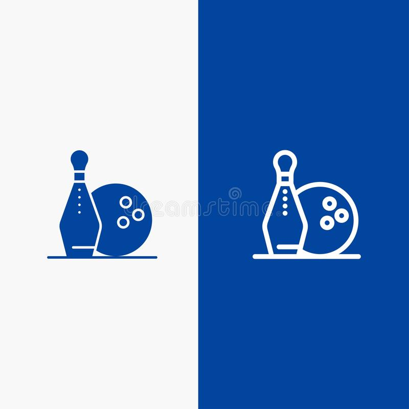 Activity, Bowling, Bowls, Keg ling Line and Glyph Solid icon Blue banner Line and Glyph Solid icon Blue banner royalty free illustration
