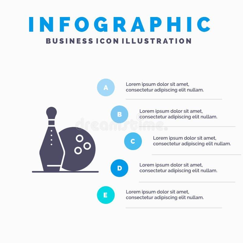 Activity, Bowling, Bowls, Keg ling Solid Icon Infographics 5 Steps Presentation Background stock illustration